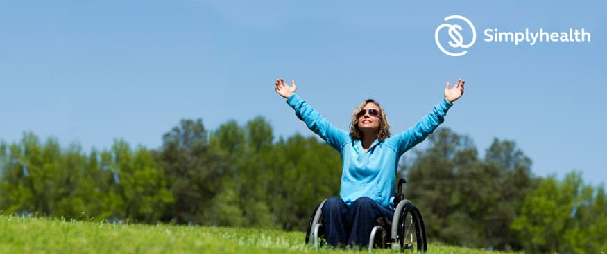 happy wheelchair user in the field