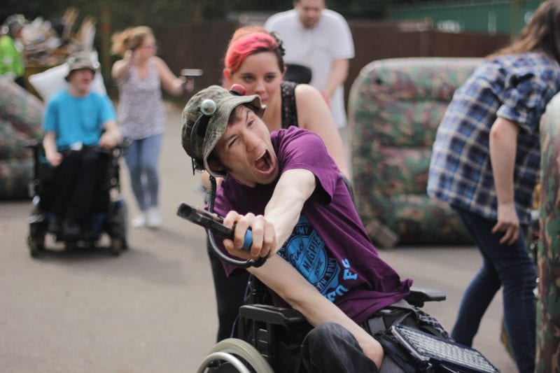 disabled guests and carers on accessible laser Tag excursion