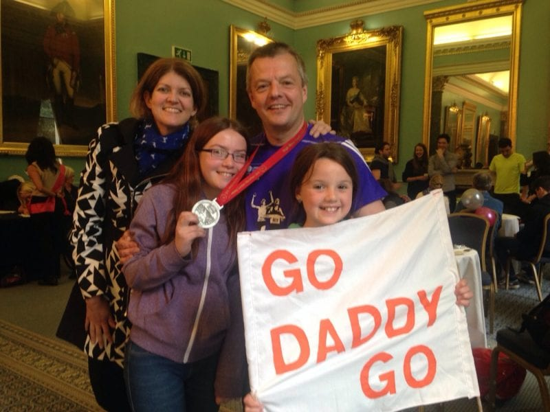 Mark Wall's family after marathon