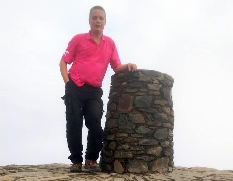 Mark Page at the top of the Welsh Three Peaks