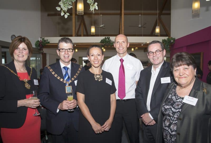 mayors, Mindy Sawhney, Darren Holloran and Chris Simmonds at Revitalise reception