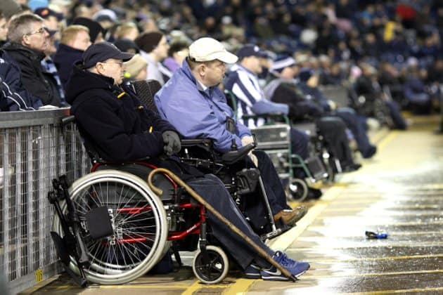 disabled fans pitchside watch the game