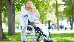 Carer and guest in wheelchair