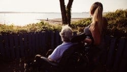 disabled guest and carer admiring the sea view at Netley Waterside House