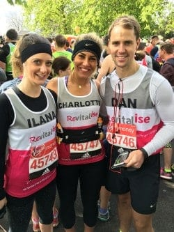 Team Revitalise participants Ilana, Charlotte and Dan who completed London Marathon 2016