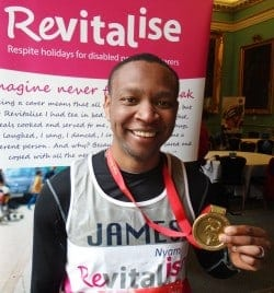 Team Revitalise participant James who completed London Marathon 2016