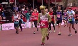 Team Revitalise participant Pardip captured on BBC's coverage of 2016 London Marathon