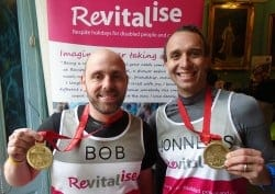 Team Revitalise participants Bod and Jonathan who completed London Marathon 2016