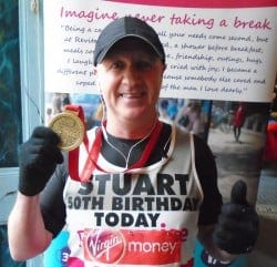 Team Revitalise participant Stuart who took part in the 2016 London Marathon on his birthday