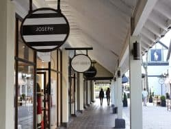 Selection of retail stores at shopping centre