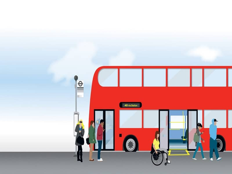 Animated image of bus with passengers