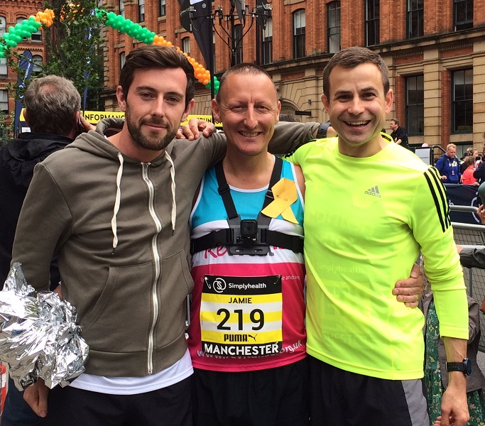 Team Revitalise runner Jamie Jones at Simplyhealth Great Manchester Run
