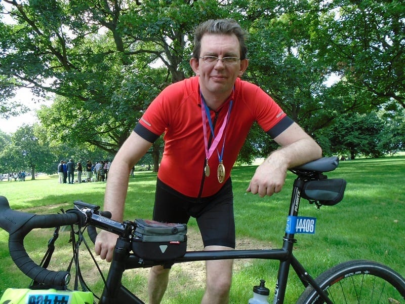 Team Revitalise Ride London participant Martyn with bike