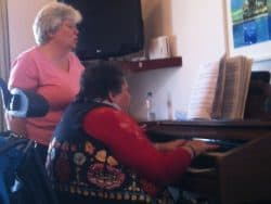 Shirley and friend Sharon making musical memories together.