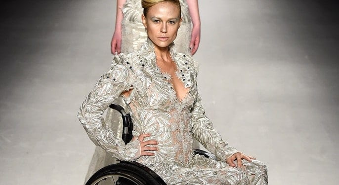 Disabled models took to the catwalk in the FTL Moda 2015 autumn fashion show in NYC
