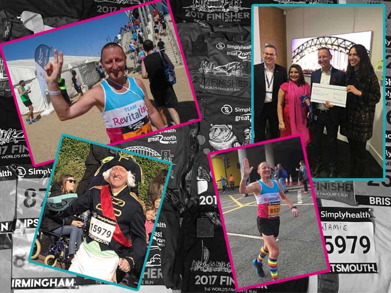 Collage of Jamie Jones's Simplyhealth Great Run moments