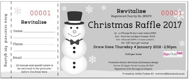 Revitalise 2017 Christmas Raffle ticket
