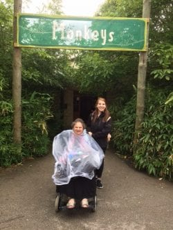 Shirley out on excursion to Chester Zoo with Revitalise volunteer while on holiday at Revitalise Sandpipers