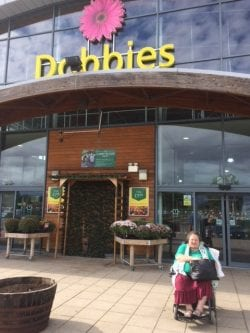 Shirley out on excursion to Dobbies Garden Centres while on holiday at Revitalise Sandpipers