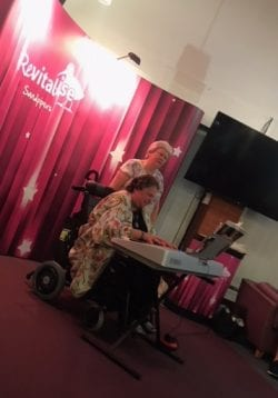 Shirley and friend Sharon performing for guests at Revitalise Sandpipers