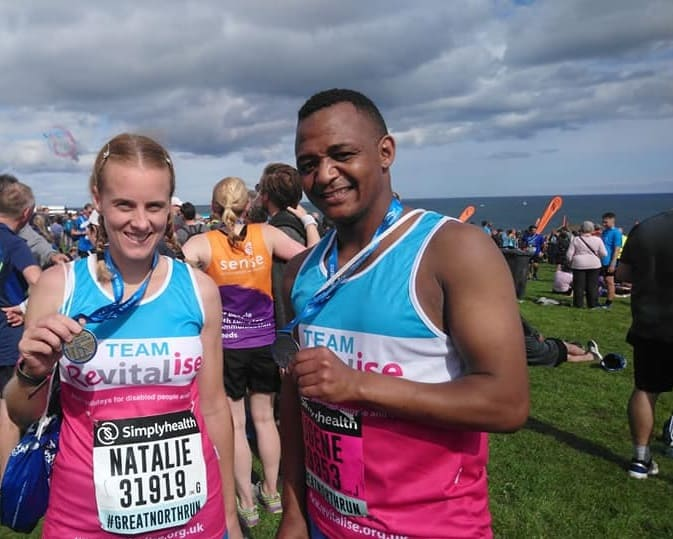 Natalie and Eugene at the Simplyhealth Great North Run on behalf of Revitalise Sandpipers
