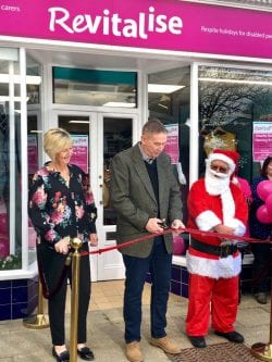 Alan Knight MBE opening the Revitalise Wickham charity shop, in Hampshire