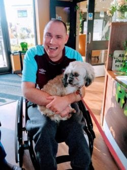 Conor Armstrong and his dog
